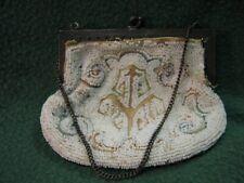 New listing Antique Art Nouveau Brown Frame White Bead Fringe Purse W/ Attached Chain Rare