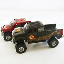 Bass Pro Shops Toy Pickup 4 X 4 Trucks w/ Workers Figurines Lot of 2