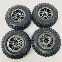 Traxxas Slash 4x4 Front & Rear Black & Charcoal Wheels SCT Split Spoke (x4) 6873