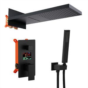 Black LCD Digital Display Shower Faucet Set Rain Waterfall Black Bathtub Shower