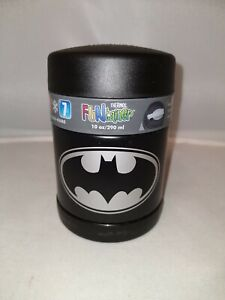 Batman Black Thermos Funtainer Stainless Steel Insulated Food Jar & spoon 10 oz