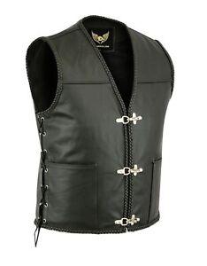 Mens Leather Vest Buckle Motorbike Vest Motorcycle Club Biker Fishhook Waistcoat
