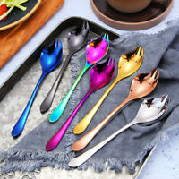 EE_  KITCHEN PORTABLE STAINLESS STEEL SALAD SERVING FORK SPOON CUTLERY UTENSIL
