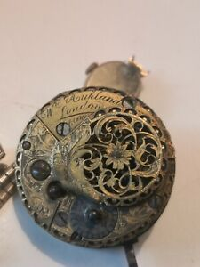 Georgian  FUSEE VERGE SQUARE PILLAR POCKET WATCH MOVEMENT by W.M AUCLAND LONDON