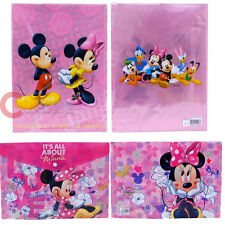 Disney Mickey Minnie Mouse School File Jacket  Clear Folder Pin 2pc Set
