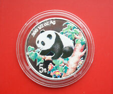China: 5 Yuan 1998 Silber, Coloured Panda, 1/2 Oz., #F1899, Ultra rare!