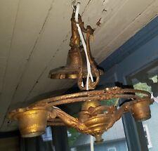 Antique Art Deco Cast Brass Ceiling Fixture Chandelier 2 Lights Rewired