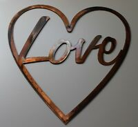 "LOVE in Heart Metal Wall Art Decor 10"" x 10"""