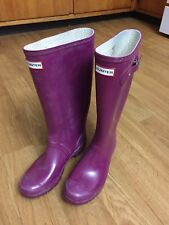Hunter Tall Rain Boots Size 8 Female Purple Huntress Gloss W23990 UK6 EU39