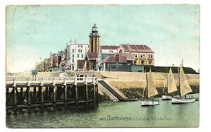 OLD POSTCARD BLAKENBERGE PORT & LE PHARE BELGIUM LIGHTHOUSE RELATED