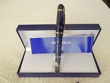 WATERMAN PHILEAS  BLUE MARBLE FOUNTAIN PEN MEDIUM PT NEW UNUSED WITH BOX
