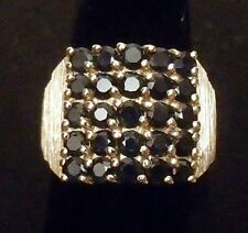 NEW Women's 14k Yellow Gold 25 Stone Deep Blue Tanzanite Ring Sz 7 - 5.9g Tot Wt