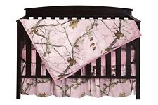 Pink Camo Crib Sheet Set Bedding, Quilt Skirt Camouflage Baby Toddler Realtree