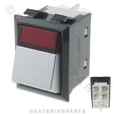 16A Cromo/Rojo Neón Interruptor Encendido Apagado Doble Polo 4 Pin 23X34MM 230V