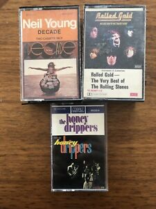 3 X Cassetttes - Neil Young, Rolling Stones, Honey Drippers