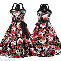 New Womens Vintage Swing 50s 60s Retro Pinup Rockabilly Evening Party Prom Dress
