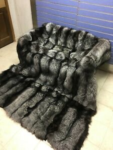 Luxury Full Skin Silver Fox Fur Throw Real Fox Fur Blanket / Bedspread