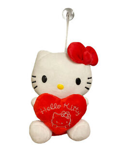 Hello Kitty Soft Plush Stuffed Animal Toy Red Bow Heart Love Suction Cup Hanging