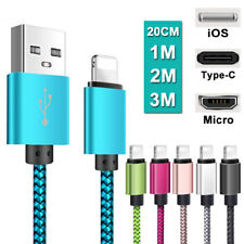 For Apple Samsung Huawei Android Lead Type C Micro USB iOS Fast Charger Cable