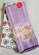 Set of 2 Valentines Kitchen Dish Towels You+Me = Glitter BFF XOXO GRL PWR Purple