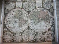 Baumwolle Kaufman Vintage blueprint parchment Weltkarte Panel