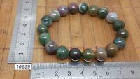 Bracelet AGATE MOUSSE perles 10 mm mineraux lithotherapie pierre naturelle reiki
