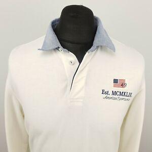 GANT Mens  Sweatshirt Jumper Henley MEDIUM White Cotton