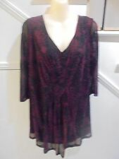 MODA SIZE 18 BLACK BURGUNDY LINED TOP 'PERFECT' VERY DRESSY