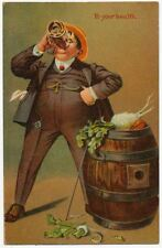 """""""To Your Health"""" Man Drinking from a Keg of Vegetables 1910"""