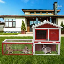 60'' Wooden Animal Hutch Rabbit Chicken Coop Guinea Bunny Squirrel Hamster Cage