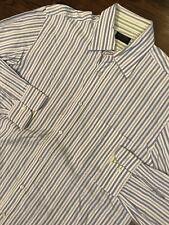Paul & Shark Yachting Blue Stripe Button Down Shirt Medium M 100% Cotton Italy