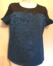 Miss Selfridge UK8 EU36 US4 blue/black stretch top with sheer black shoulders