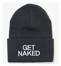 UNISEX BLACK KNIT BEANIE WITH WHITE LETTERING.