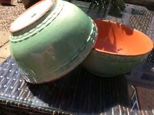"""Vintage French pottery terracotta 2 x green bowls """"154"""""""
