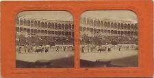 Corrida Espagne France Stéréo colorisé par transparence Vintage Albumine ca 1865