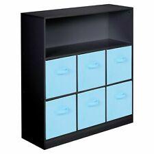 Wooden Black 7 Cubed Cupboard Storage Unit Shelves 6 Light Blue Drawers Baskets