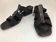 Donald J Pliner Slip On Mesh Elastic Leather Snake Sandals Size 7 N Black