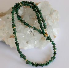 Edle Smaragd kette Edelsteinkette Collier Nuggets Halskette Grün 925 Silber Echt