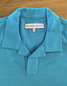 Orlebar Brown Polo Top Turquoise Blue Tailored Fit Long Sleeve Medium New
