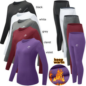 Ladies Thermal Underwear Set Compression Base Layer Top Full Sleeve Winter Warm