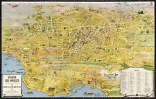 VINTAGE MAP PRINT Greater Los Angeles California 1932 K.M Leuschner Poster 58x37