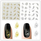 Hot Sliver/Gold Nail Art Peacock Feather nail Wrap Water Transfer Sticker Decal