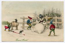 LUTINS GNOMES BONHOMME DE NEIGE IVRE. PIXIES. DRUNK SNOWMAN.