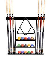 Cue Rack Only - 6 Pool - Billiard Stick + Ball Set Wall Rack Holder Black Finish