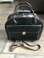 McKlein DETACHABLE Leather Wheeled Rolling  Briefcase Black Laptop Bag 17x15x7