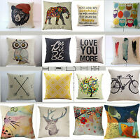 "18"" Vintage Home Decor Cotton Linen Pillow Case Sofa Waist Throw Cushion Cover"