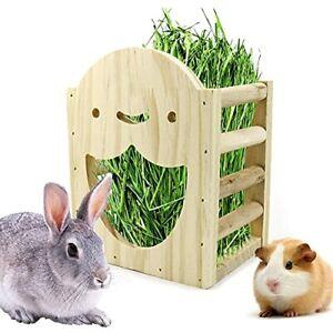 Rabbit Hay Feeder Guinea Pig Hay Rack Wooden Manger Grass Holder Food Feeding...