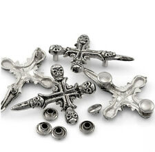 "Pkg of 5 Metal SKULL CROSS 1-3/4"" x 1-1/4 (45mm) Studs (1095) Leather Crafts"