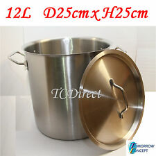 12L 25cm Commercial Stainless Steel Stock Pot Saucepan with Lid (D250xH250)