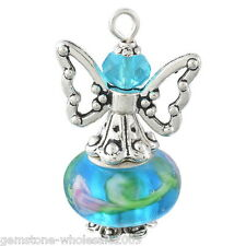 Wholesale W09 Blue Hand Made Guardian Angel Pendants Beads Wing Jewelry